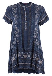 Johnny Was Blue Night Kones Tunic - Front