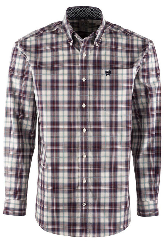 Cinch Port and Navy Multi Plaid Shirt - Front