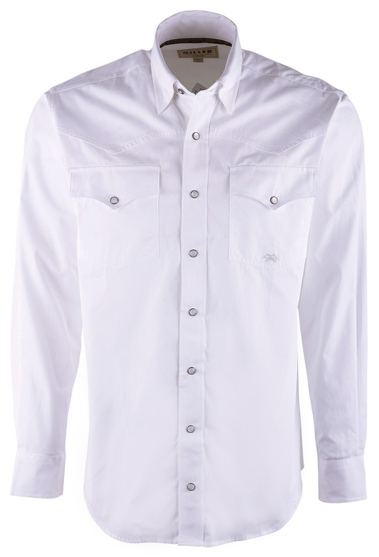 Miller Ranch White Plain Weave Snap Shirt - Front