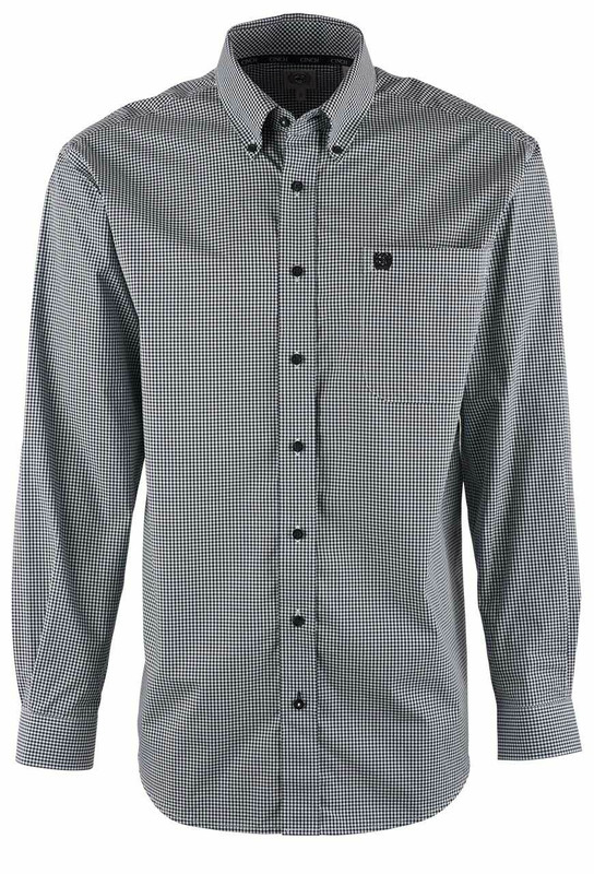 Cinch Navy Micro Check Shirt - Front