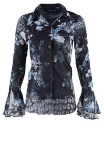 Komarov India Ink Flared Sleeve Button Up  - Front