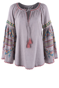 Ivy Jane Embroidered Bell Sleeve Top - Front