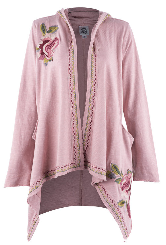 IVY JANE PINK CARDIGAN WITH ROSE EMBROIDERY