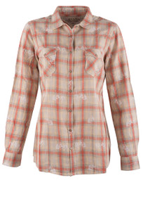 Ryan Michael Women's Campfire Bucking Horse Plaid Shirt - Front