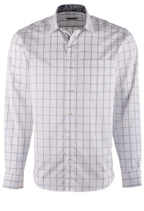 Bugatchi Snow Navy Plaid Shirt  - Front