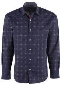 Bugatchi Black Windowpane Plaid Shirt - Front