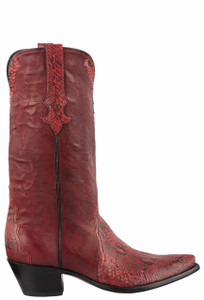 Stallion Women's Dark Red Python Cowgirl Boots - Side