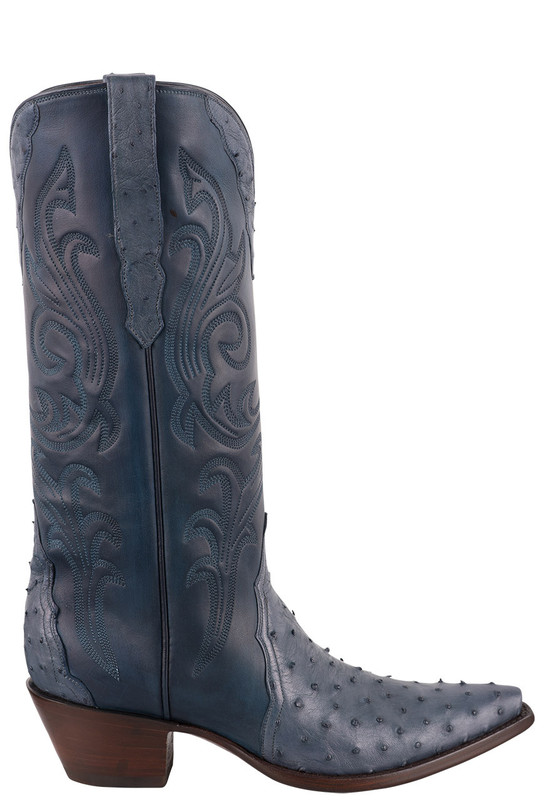 Stallion Women's Blue Full Quill Ostrich Cowgirl Boots - Side