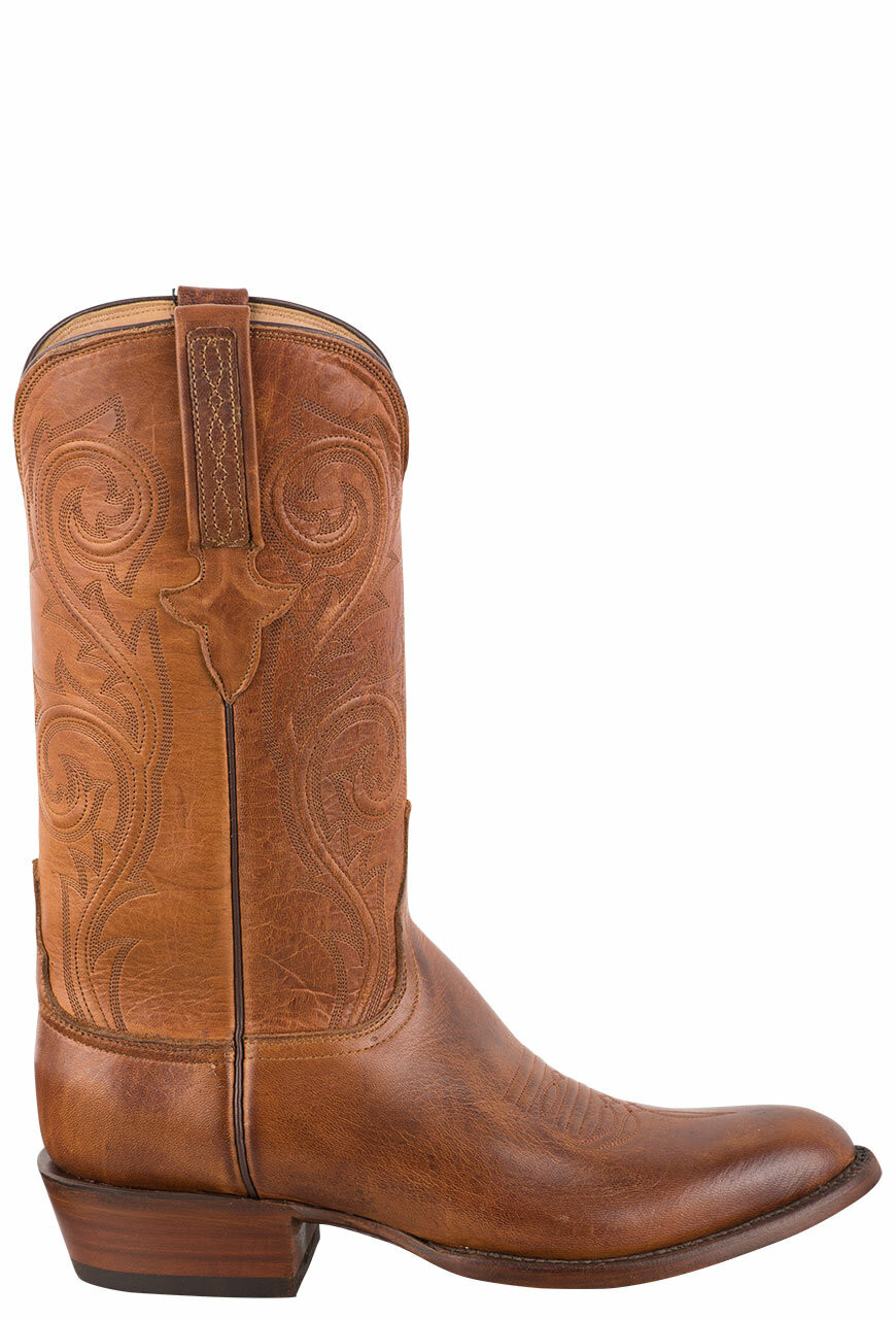 ed460cdaade Luccheses Sun Saddle Burnished Elk Cowboy Boots for Men
