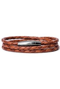 Kenton Michael Tan Meditteranean Braided Leather Wrap