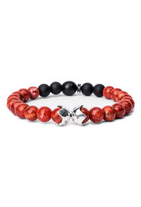 Kenton Michael Red Coral Sterling Bead Shields Bracelet