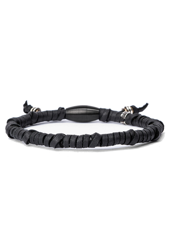 Kenton Michael Black Rugged Leather Wrap Bracelet