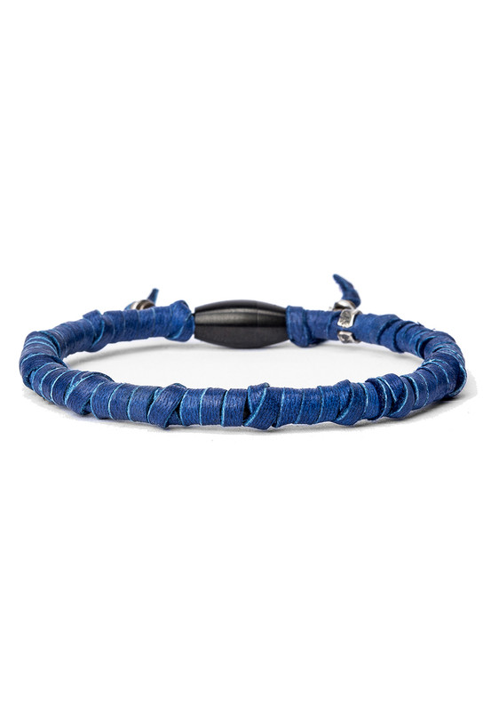 Kenton Michael Blue Rugged Leather Wrap Bracelet