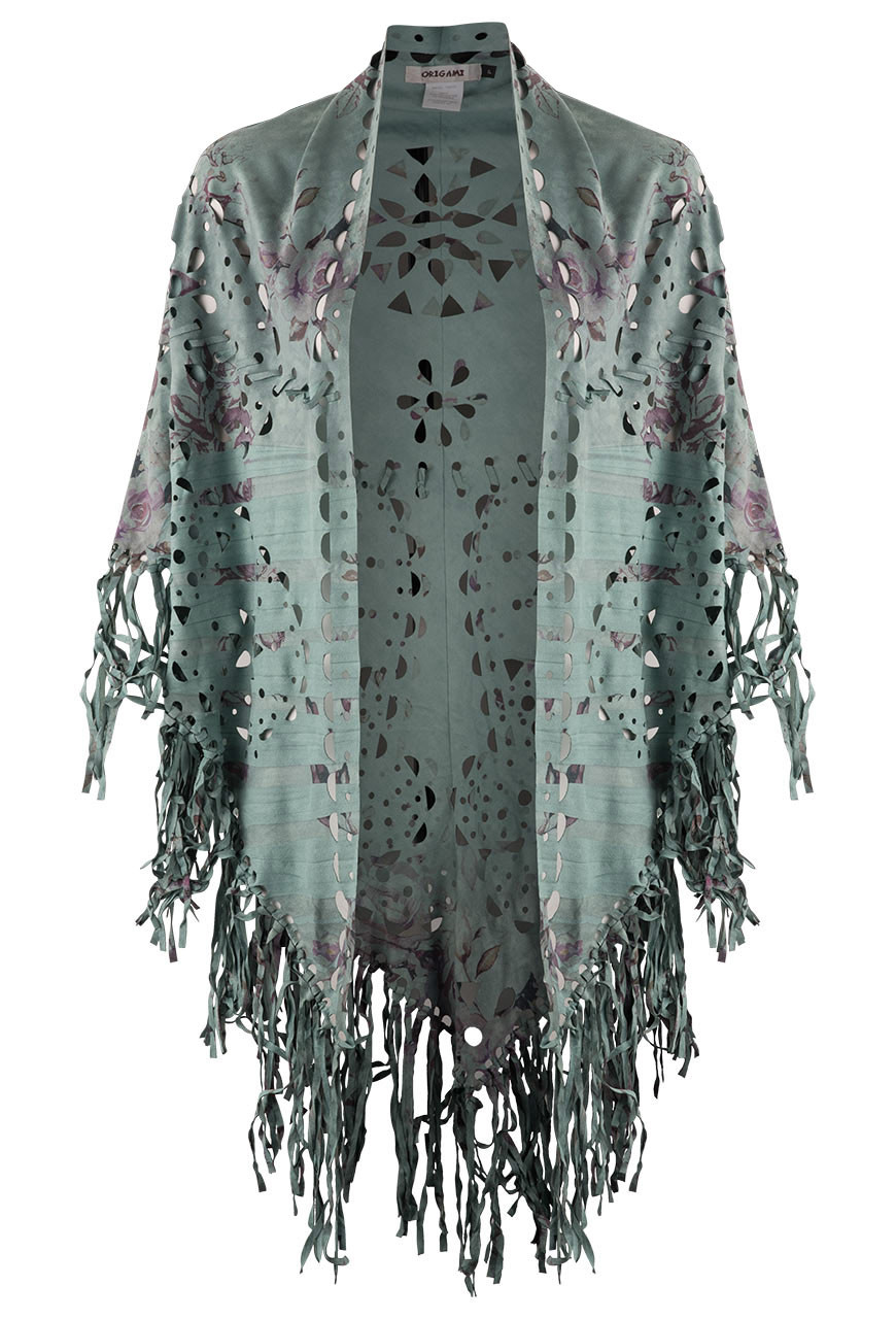 Origami Rose Suede Fringed Shawl Buy A Suede Shawl With