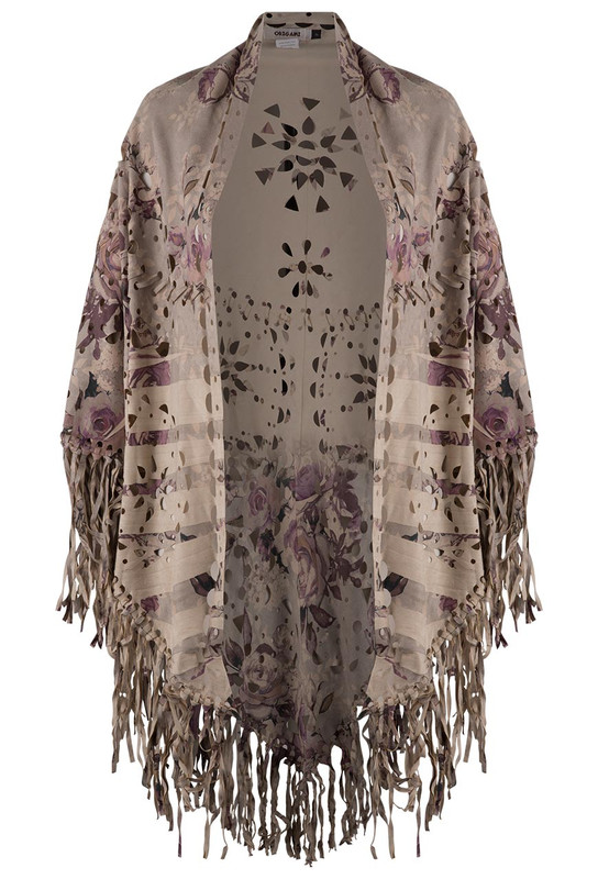 Origami Rose Faux Suede Fringe Shawl - Front