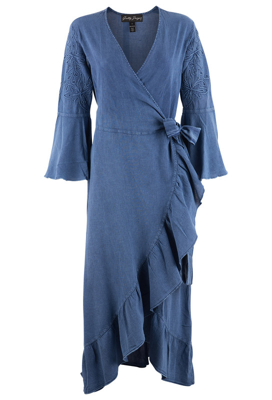 Gretty Zueger Denim Wrap Dress - Front
