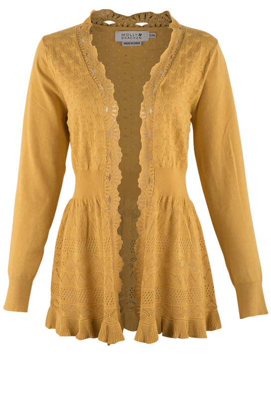 Molly Bracken Saffron Knit Cardigan - Front