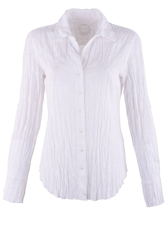Cino White on White Embroidered Blouse - Front