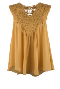 Molly Bracken Baby Doll Top - SAFFRON - Front