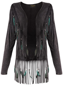 Pat Dahnke Women's Fringe Feather V Back Jacket  - Front