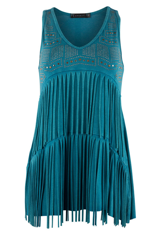 T Party Studded Fringe Tank Top - Front