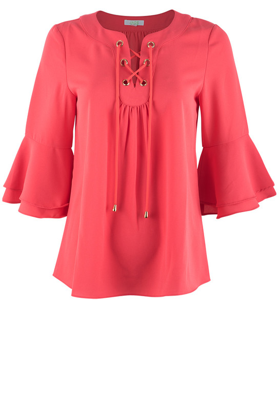 Jade Women's 3/4 Bell Sleeve Tie Top - Front