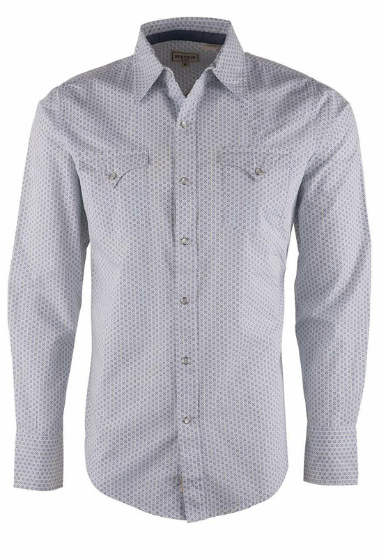 Stetson Modern Fit Blue Cross Dots Snap Shirt - Front