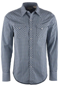 Stetson Modern Fit Blue Satin Mini Check Snap Shirt - Front