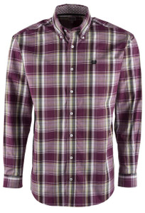 Cinch Purple Background Plaid Shirt - Front