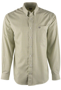 Cinch Lime and Gray Check Tencel Shirt - Front