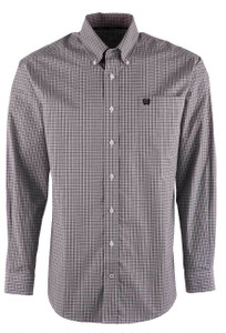 Cinch Lilac Mini Check Shirt - Front