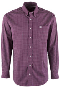 Cinch Purple Block Check Shirt - Front