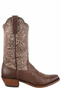 Rios of Mercedes Women's Kango Tobacco Mad Dog Smooth Ostrich Tooled Cowboy Boots - Side