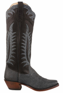 Rios of Mercedes Women's Denim Smooth Ostrich Cowboy Boots  - Side