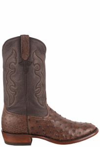 Rios of Mercedes Men's Kango Tobacco Bruciato Full Quill Ostrich Cowboy Boots - Side