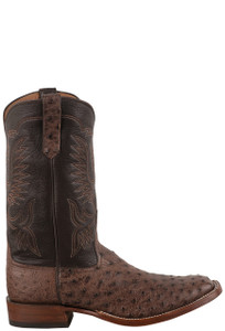 Rios of Mercedes Men's Bruciato Kango Tobacco Full Quill Ostrich Cowboy Boots - Side