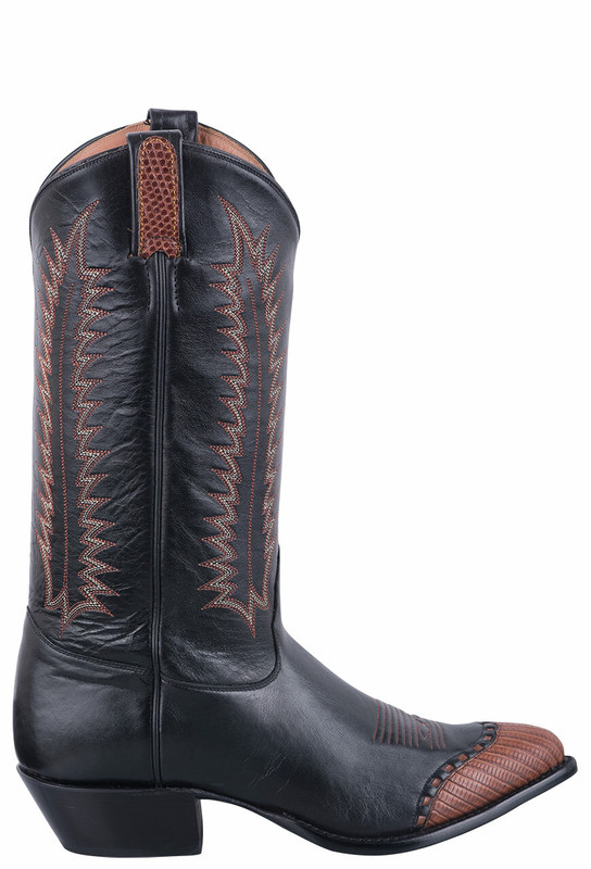 Tony Lama Signature Series Women's Midnight Lizard Wingtip Cowboy Boots - Side