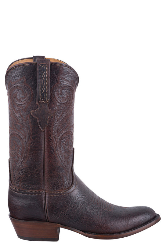 LUCCHESE ELK COWBOY BOOTS WITH OVERLAY PULL STRAPS