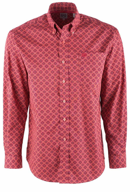 Cinch Coral Floral Foulard Print Sport Shirt - Front