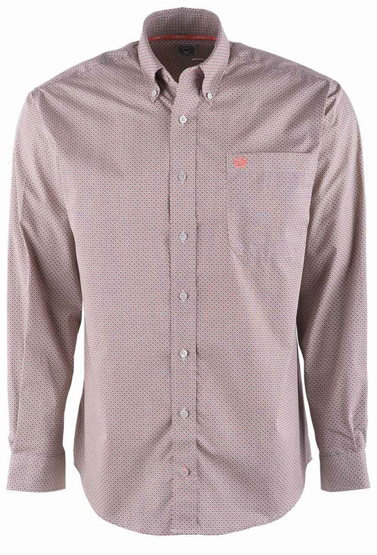 Cinch Stone Coral Dot Print Sport Shirt - Front