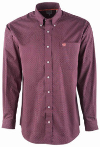 Cinch Dark Purple Microbe Print Sport Shirt - Front