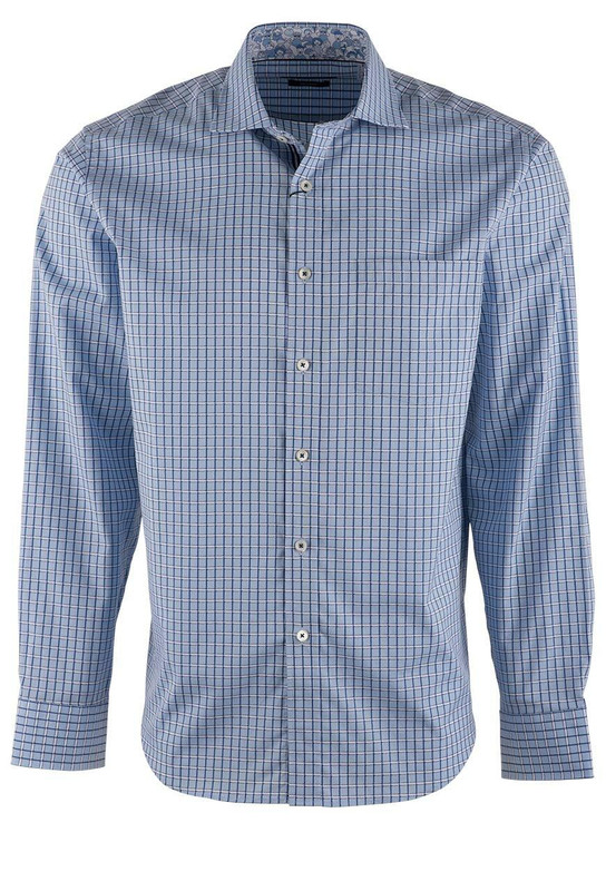 Bugatchi Air Blue Basket Print Shirt - Front