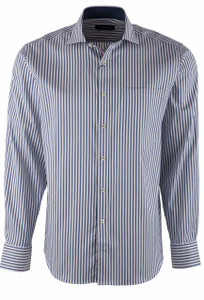Bugatchi Chalk Everything Stripe Shirt - Front