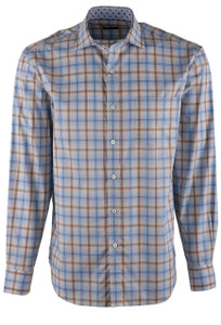 Bugatchi Sand and Blue Plaid Shirt - Front
