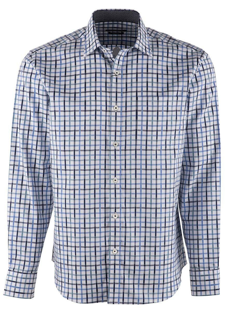 BUGATCHI BLUE LATTICE PLAID SHIRT