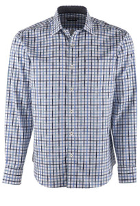 Bugatchi Blue Lattice Plaid Shirt - Front