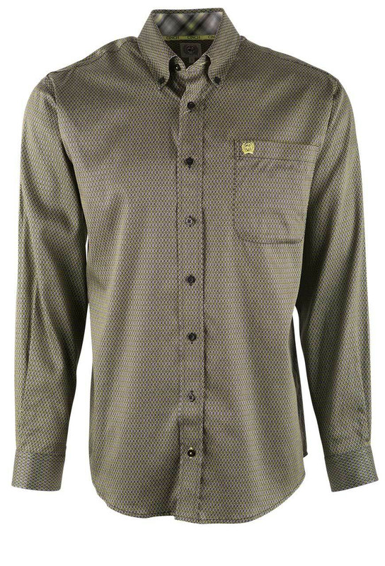 Cinch Dark Diamond Print Tencel Shirt - Front