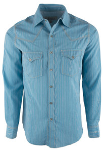Ryan Michael Men's Spring Blue Sunbeam Stripe Jacquard Shirt - Front
