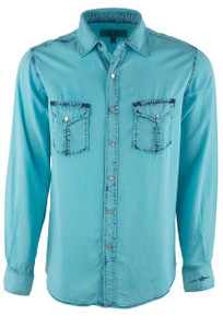 Ryan Michael Men's Oasis Blue Neon Bleached Indigo Tencel Shirt - Front