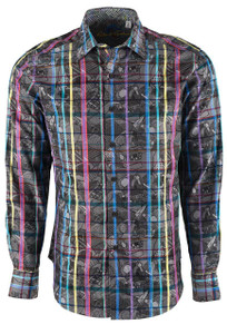 Robert Graham Men's Gray Augustine Sport Shirt - Front